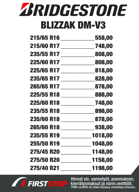 Bridgestone Blizzak DM-V3 hinta