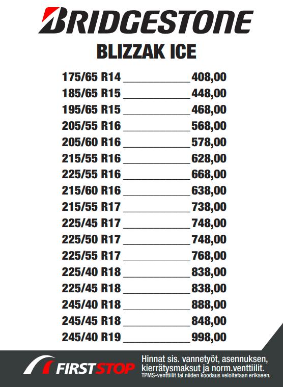 Bridgestone Blizzak Ice hinta